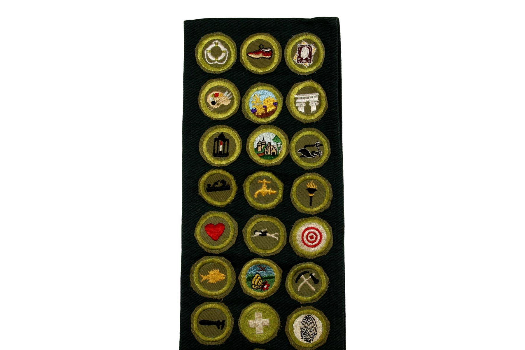 Merit Badge Sash 1950s with 41 Khaki Crimped Merit Badges