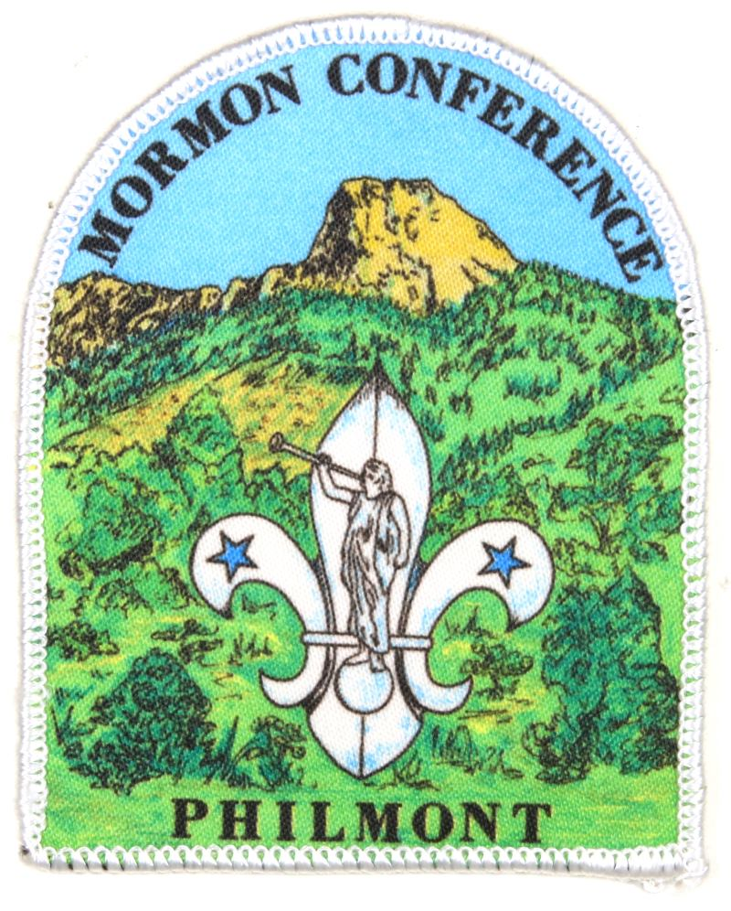 LDS Mormon Conference Philmont Patch Silk Screened White Border Dome Shape