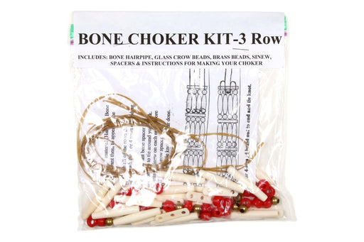 3 - Row Choker Kit - Bone - Red Beads