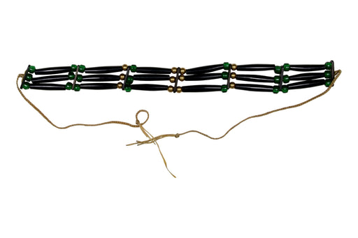 3 - Row Assembled Choker - Buffalo - Green Beads