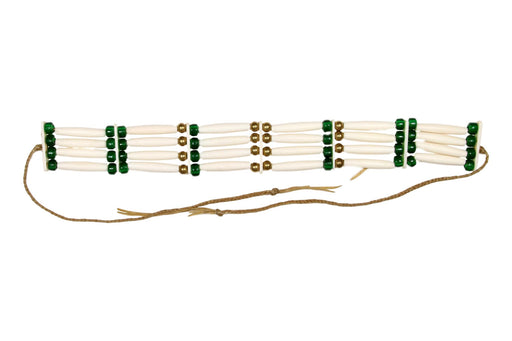 4 - Row Assembled Choker - Bone - Green Beads
