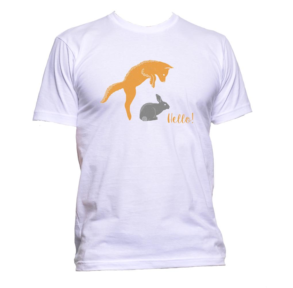 AppleWormDesign • Fox And Rabbit Hello gift - Men's T-Shirt •