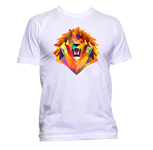 AppleWormDesign • Geometric Coloured Lion Head gift - Men's T-Shirt •