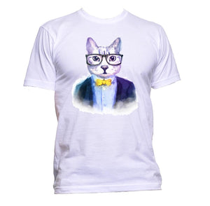 AppleWormDesign • Watercolour Mr Hipster Cat gift - Men's T-Shirt •