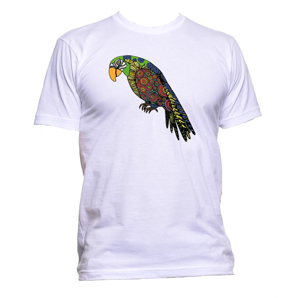 AppleWormDesign • Ethnic Coloured Parrot Drawing gift - Men's T-Shirt •