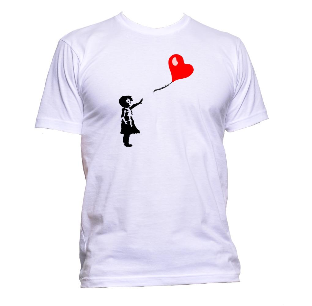 AppleWormDesign • Banksy Girl With Heart Balloon gift - Men's T-Shirt •