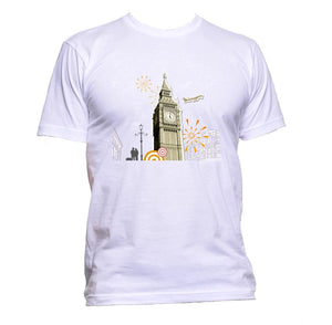 AppleWormDesign • London Big Ben Tower Drawing gift - Men's T-Shirt •