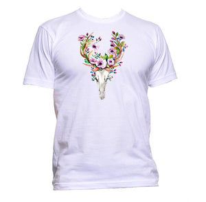 AppleWormDesign • Deer Skull With Flowers gift - Men's T-Shirt •