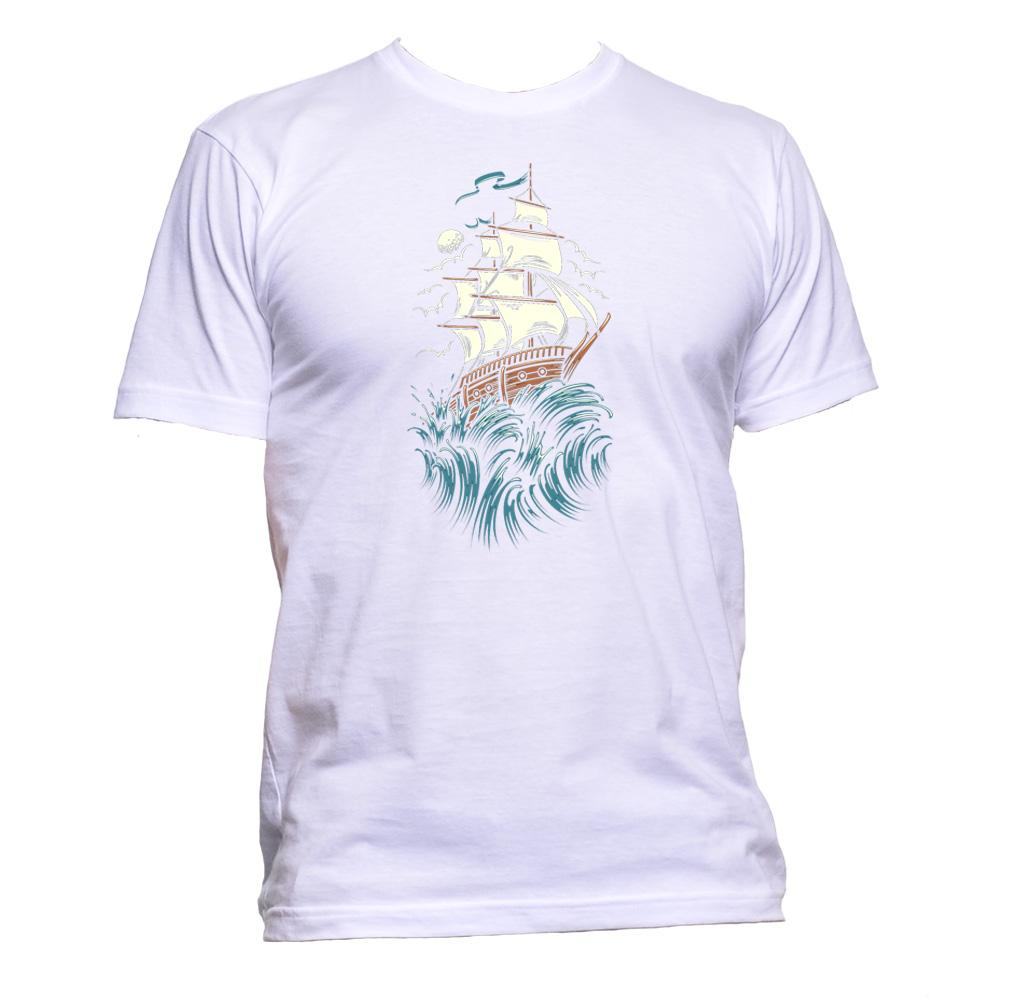 AppleWormDesign • Sailboat And Waves gift - Men's T-Shirt •