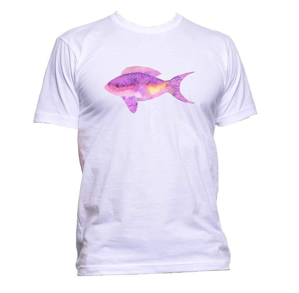 AppleWormDesign • Watercolour Painted Fish gift - Men's T-Shirt •