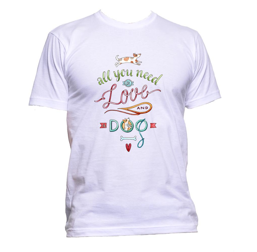 AppleWormDesign • All You Need Is Love And Dog gift - Men's T-Shirt •