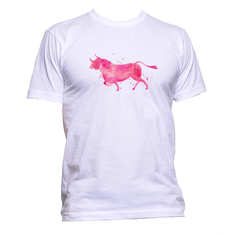 AppleWormDesign • Watercolour Bull Drawing gift - Men's T-Shirt •