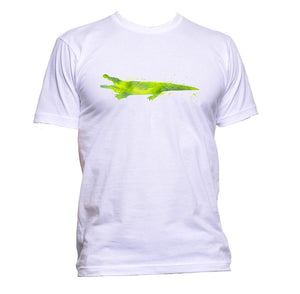 AppleWormDesign • Watercolour Green Crocodile Drawing gift - Men's T-Shirt •