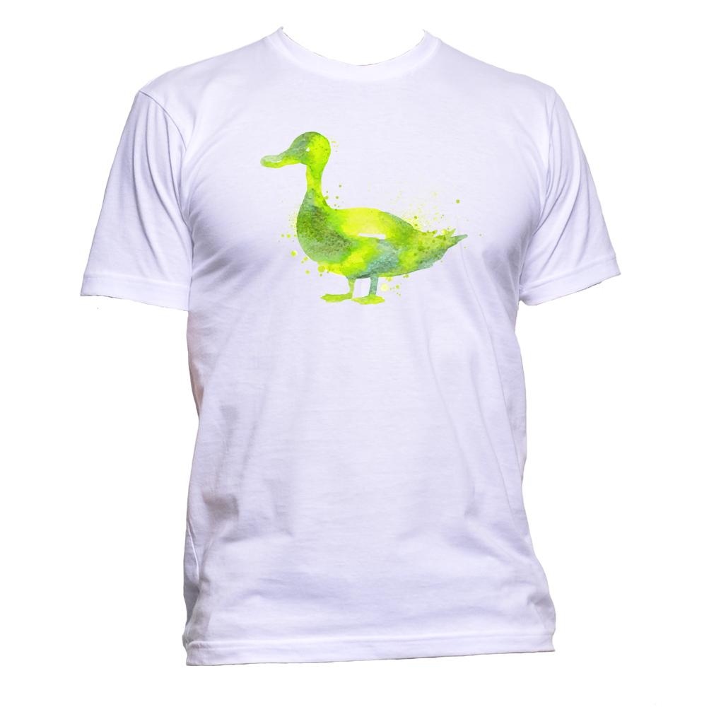 AppleWormDesign • Watercolour Green Duck Drawing gift - Men's T-Shirt •