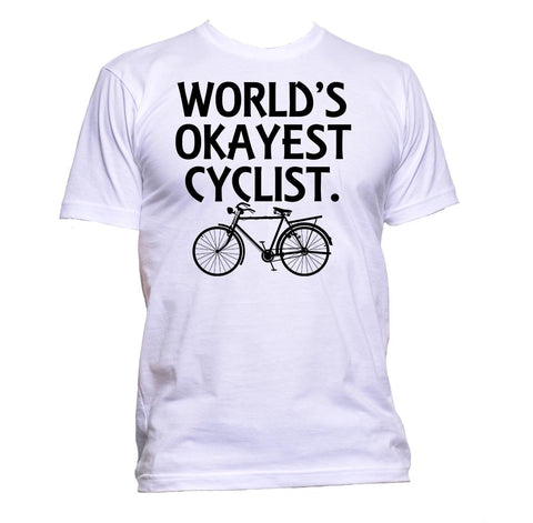 AppleWormDesign • World's Okayest Cyclist gift - Men's T-Shirt •