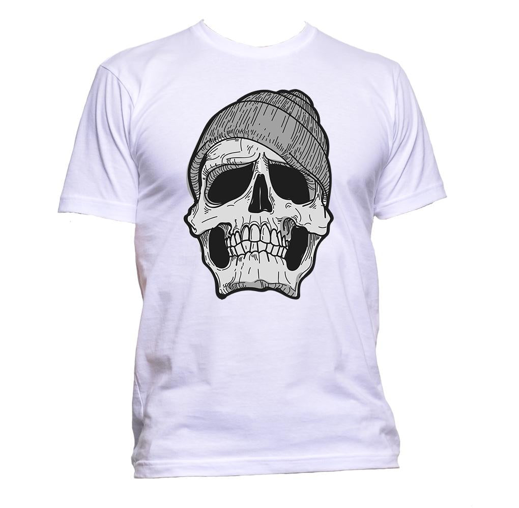 AppleWormDesign • Skull With Beanie Grey Black And White gift - Men's T-Shirt •