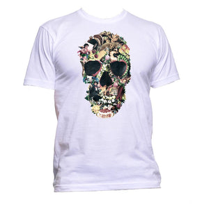 AppleWormDesign • Skull With Flowers gift - Men's T-Shirt •