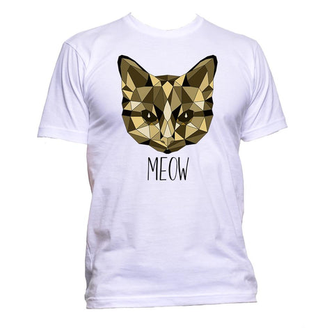 AppleWormDesign • Geometric Cat Meow Animal Brown Coloured Cat Lover gift - Men's T-Shirt •