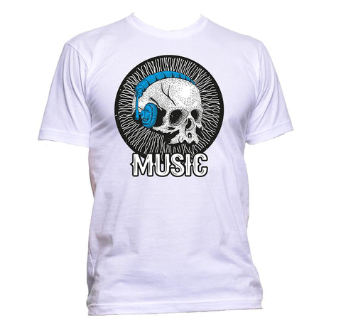 AppleWormDesign • Music Skull Headphones gift - Men's T-Shirt •