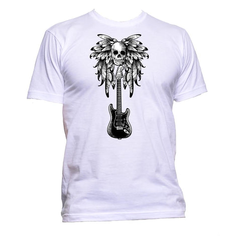 AppleWormDesign • Guitar And Skull With Feather gift - Men's T-Shirt •