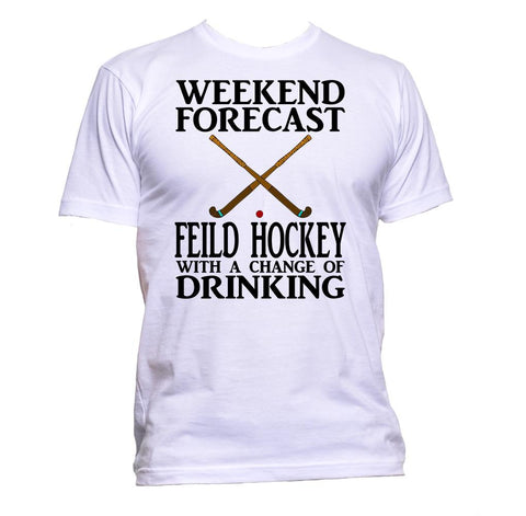 AppleWormDesign • Weekend Forecast Field Hockey With A Change Of Drinking gift - Men's T-Shirt •