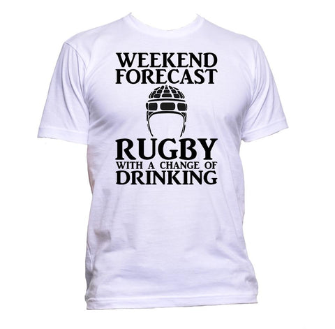 AppleWormDesign • Weekend Forecast Rugby With A Change Of Drinking Helmet gift - Men's T-Shirt •