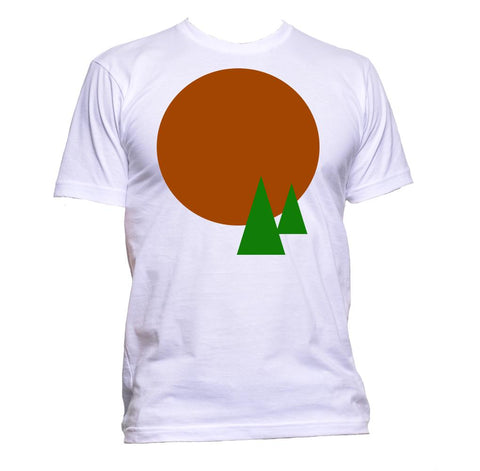 AppleWormDesign • Red Circle Sun And Trees Modern Geometric Symbols gift - Men's T-Shirt •