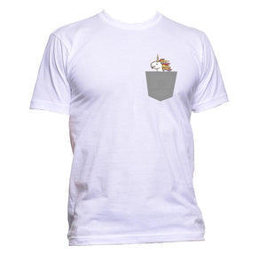 AppleWormDesign • White Rainbow Unicorn In Pocket gift - Men's T-Shirt •