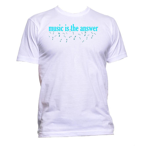 AppleWormDesign • Music Is The Answer Blue Font gift - Men's T-Shirt •