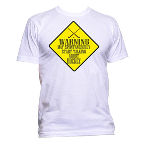 AppleWormDesign • Warning May Spontaneously Start Talking About Hockey gift - Men's T-Shirt •