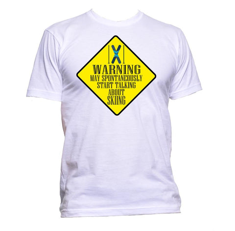AppleWormDesign • Warning May Spontaneously Start Talking About Skiing gift - Men's T-Shirt •