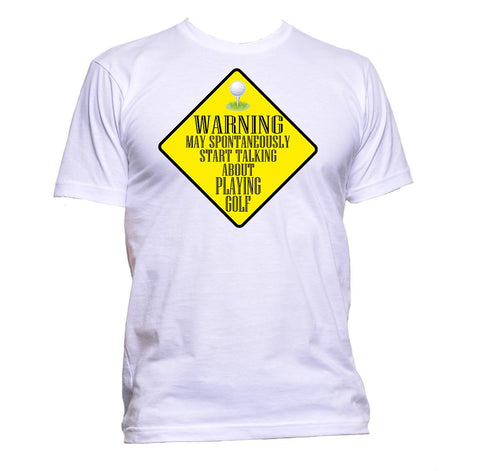 AppleWormDesign • Warning May Spontaneously Start Talking About Playing Golf gift - Men's T-Shirt •