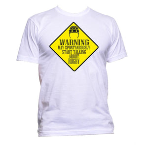 AppleWormDesign • Warning May Spontaneously Start Talking About Rugby gift - Men's T-Shirt •