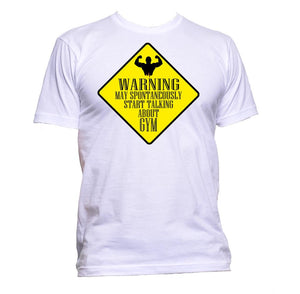 AppleWormDesign • Warning May Spontaneously Start Talking About Gym gift - Men's T-Shirt •