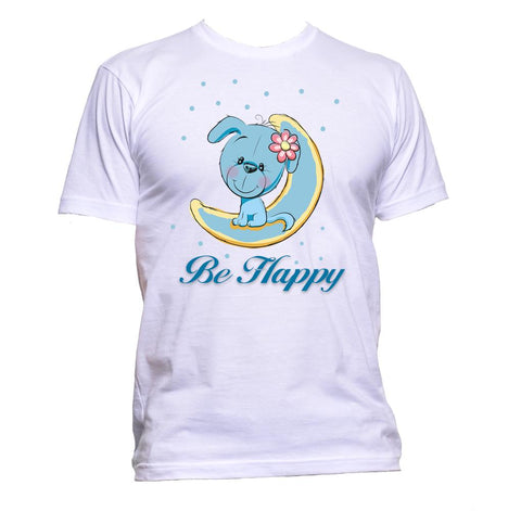 AppleWormDesign • Be Happy Cute Puppy gift - Men's T-Shirt •