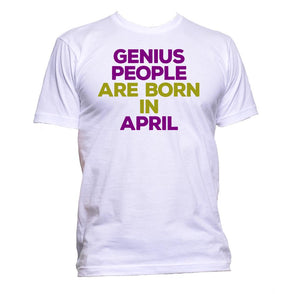 AppleWormDesign • Genius People Are Born In April gift - Men's T-Shirt •