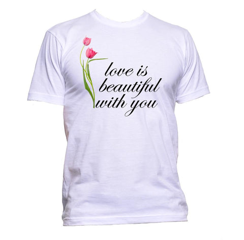 AppleWormDesign • Love Is Beautiful With You With Flowers gift - Men's T-Shirt •