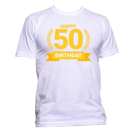 AppleWormDesign • Happy Birthday 50 Fifty gift - Men's T-Shirt •
