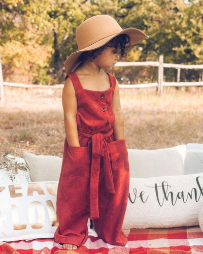 Taylor Suede Jumpsuit - Red Ochre