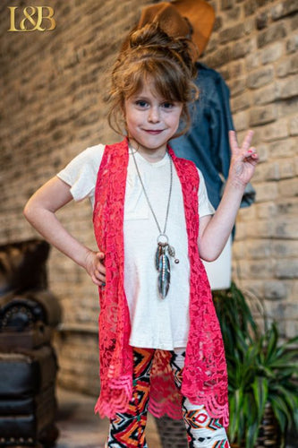 Girls Lace Vest - Coral