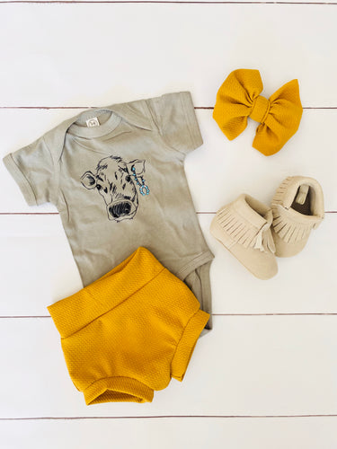 Mustard Bummie & Bow Outfit