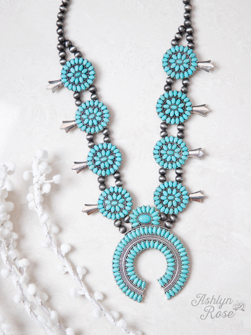 Girls Chunky Turquoise Squash Blossom Necklace