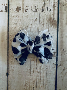 Small Ruffle Cow Print Bow