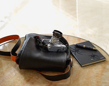 "Load image into Gallery viewer, ""The Von"" Messenger Mini Walkabout Bag Limited Edition in Black Calfskin"