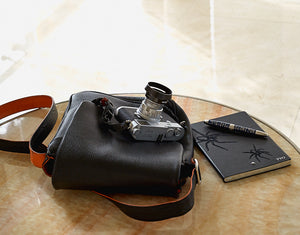 """The Von"" Messenger Mini Walkabout Bag Limited Edition in Black Calfskin"
