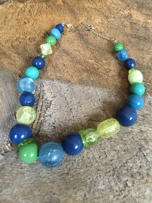 Blue Green Yellow Beaded Necklace