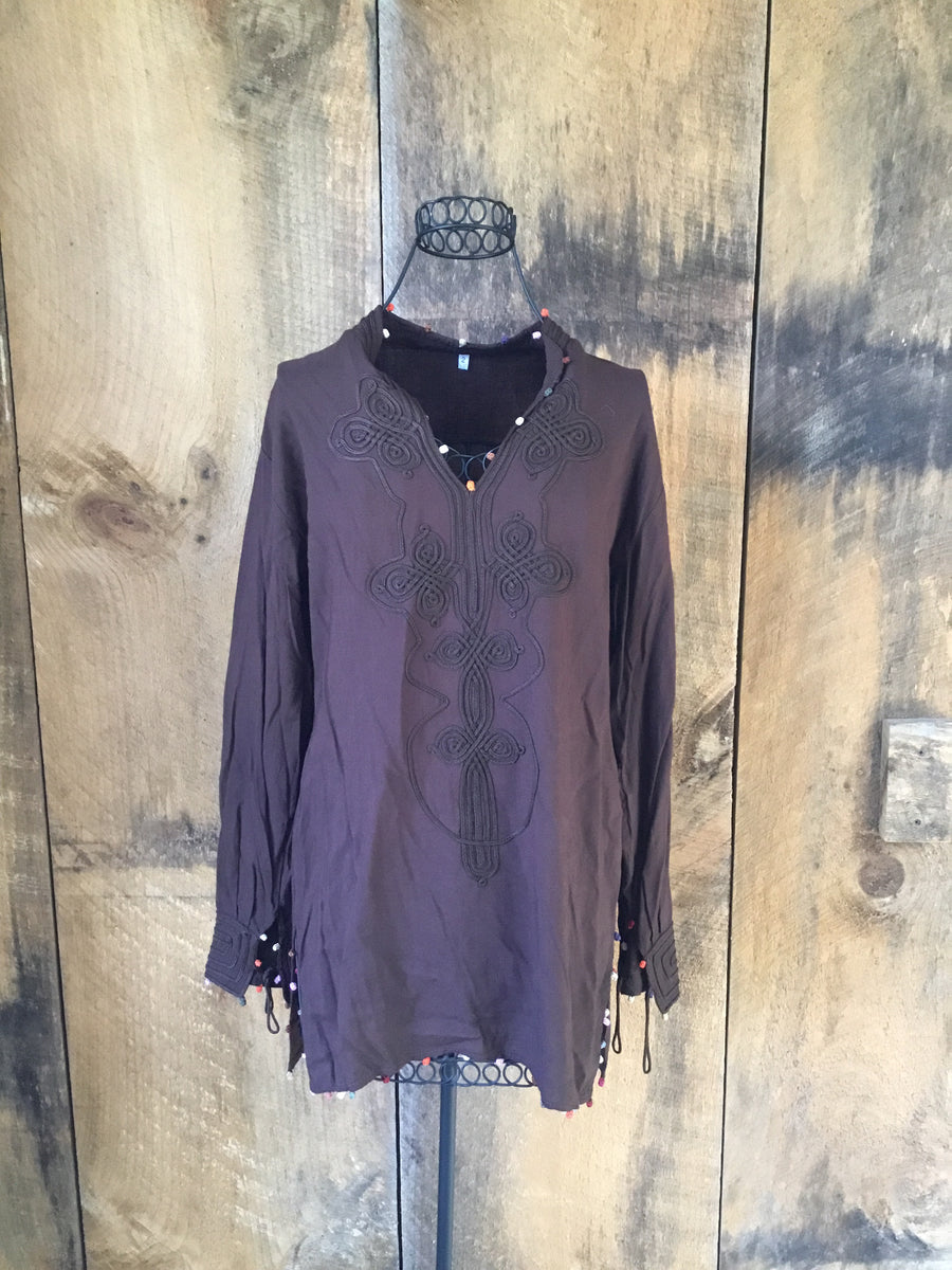 Brown Embroidered Pom Pom Tunic
