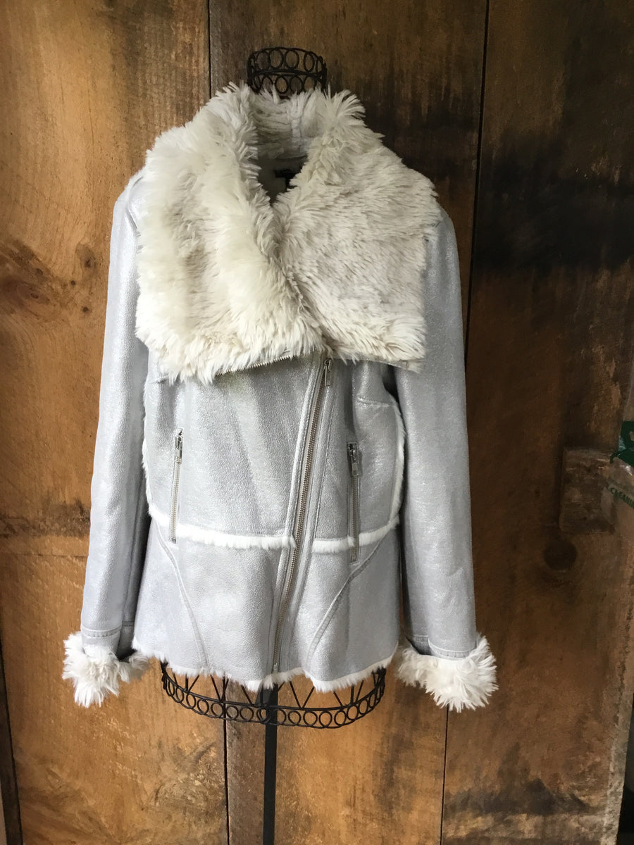 Faux Suede Shearling Fur Coat
