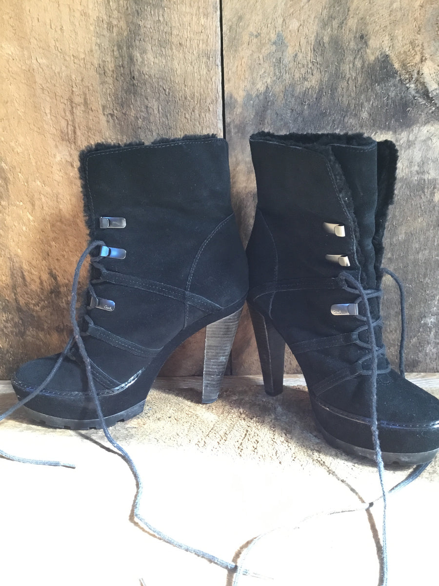 Coach Suede and Faux Fur Booties