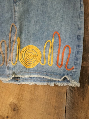 Vintage Embroidered Denim Skirt